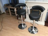 Black/chrome very stylish bar stools-immaculate condition