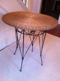 Vintage Wicker and Metal Garden Patio Bistro Table / Can Deliver