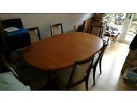 G plan dinning table and 6 chairs