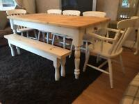 Amazing 6ft Shabby Chic Pine Table With Cutlery Drawer And 5 Chairs (Inc 2 Carvers) And Bench