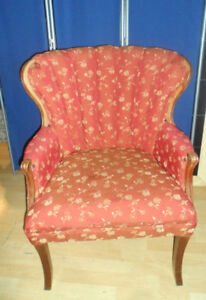 Antique WING BACK CHAIR Tucked GORGEOUS