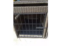 Rattan effect dog crate / cage