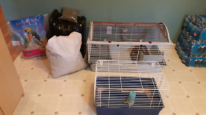2 RABBIT CAGES AND SUPPLIES