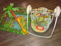 Bright Starts Up, Up & Away Portable Swing + Fisher-Music & Lights Play Mat