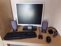 "19"" Dell monitor + speakers + wireless keyboard & mouse"