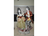 Capodimonte porcelain china, fashionably dressed figurines in an 18th century country scene