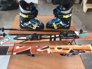 Youth skis, boots, poles