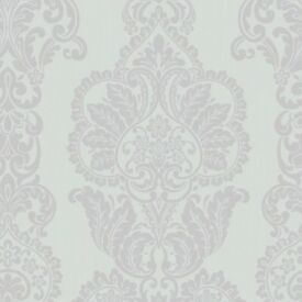 Wall Paper 7 Rolls Fine Decor Rochester Duck Egg/Silver