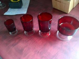 Vintage Luminarc Arcoroc Cavalier Glassware, Ruby Red style