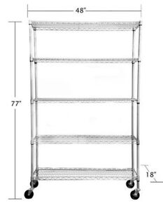 Adjustable NSF grey wire 5 tier shelving – wheels included