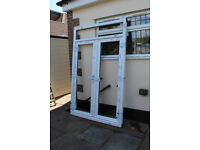 UPVC Double External Doors with Top Window - No Glass or Sill - Brand New!