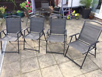 4 Deck Chairs Black Very Comfortable In Excellent Condition Outdoor Patio Furniture Barbeque Camping