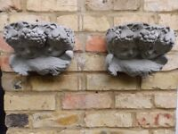 Pair of Cherubic Cast Cement Wall Planters