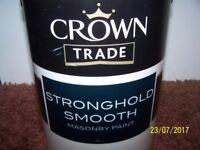 Three 5 litre cans of Crown masonry paint Buttermilk