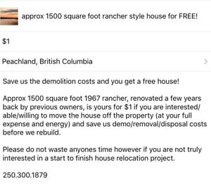 1967 approx 1500 square foot rancher house to give away