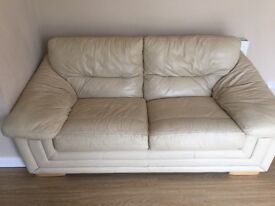 FREE to collector cream leather sofa