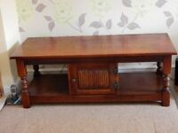 Old Charm Dark Oak Captains Coffee Table - Very Good Condition