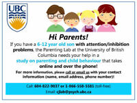 Paid UBC Online Study for Parents of 6-12-year-olds with ADHD
