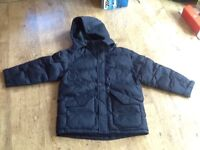 BOYS BLACK HOODED PADDED PUFFER JACKET AGE 6-7 FROM M&S GOOD CONDITION.
