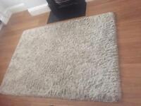 Natural coloured Shaggy wool rug