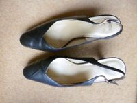"Marks and Spencer ladies black court slingback shoes size 7.5, 3 "" heels"