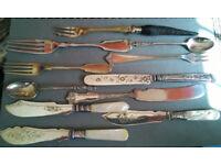 job lot of antique cutlery