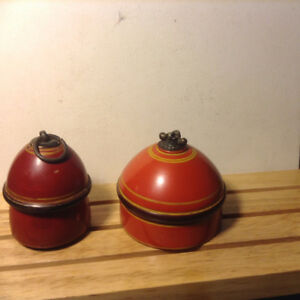 Old Antique 2 Pc Wooden Crafted Orange Colour Laquer Painted Kum