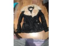 River Island Black (real) leather jacket size 10