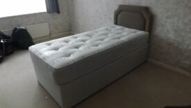Nearly New 3ft Single Divan Bed + Mattress + Headboard