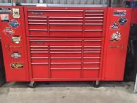 extra large snap on toolbox with side cupboards and shelf