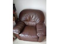 2 used dark brown sofa