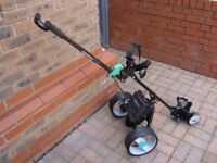 Hillbilly Compact plus electric golf club trolley with 18 hole battery and charger
