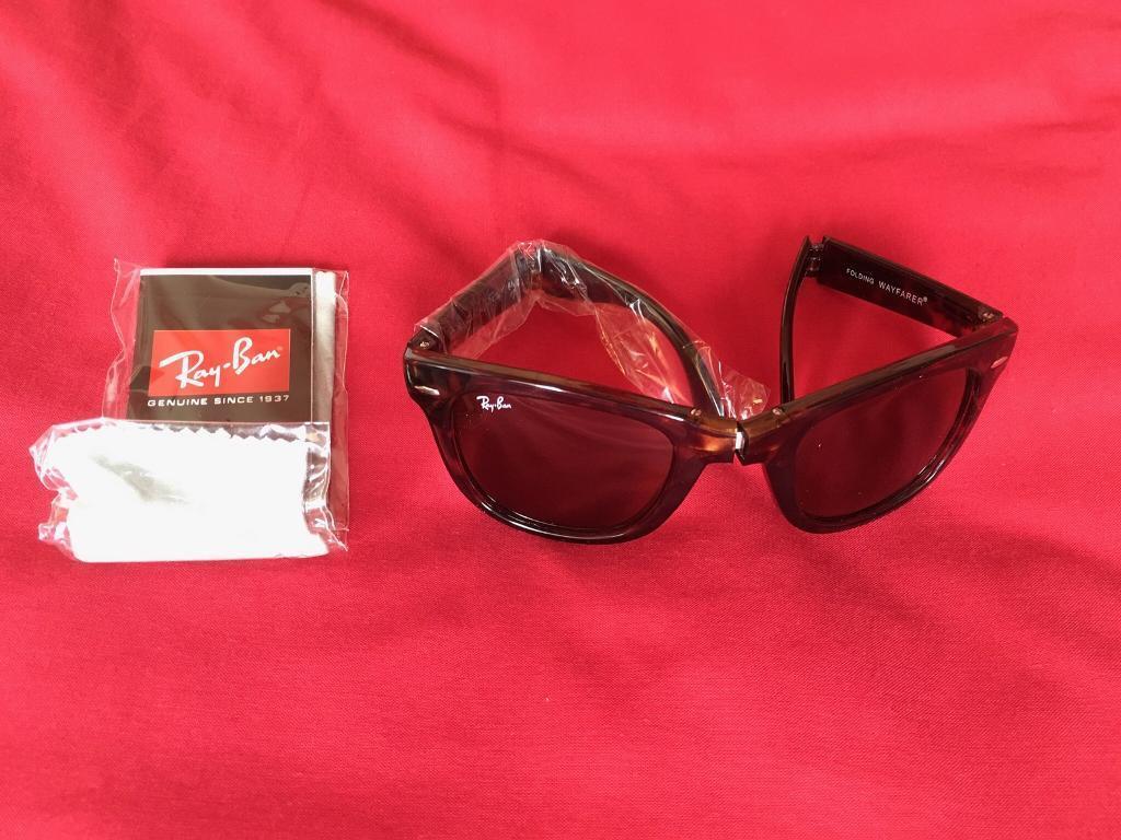 RayBan Folding Wayfarer Tortoishell Sunglasses RB4105