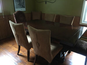 Dining Room Table with 6 Side Chairs and 2 Tapestry End Chairs