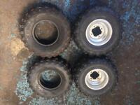 Quad Tyres with rims 20x10x9 x2 & 22x7x9 x2 Kenda Dunlop Yamaha LTZ KFX