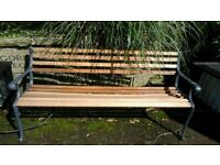 Cast iron and hard wood garden bench