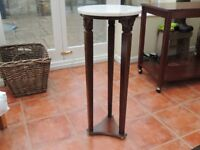 Victorian marble and carved PLANT STAND