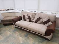 Fabric Three Seater Sofa, Cuddle Chair and Foot Stool (Brown and Beige)