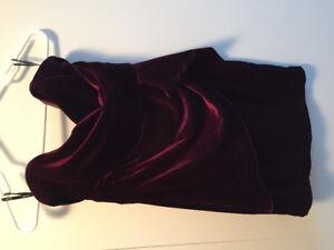 Burgundy stretch velvet dress