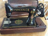 Beautiful Singer Sewing Machine , original , non electric . Still working .