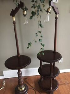 rustic side table lamps-pair