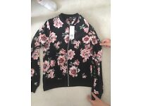 Ladies new with tags floral zip jacket size 8