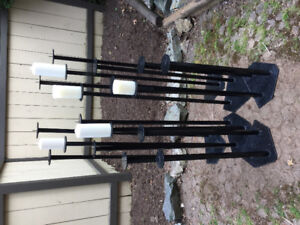 Contemporary Black Wrought Iron Candle Stands