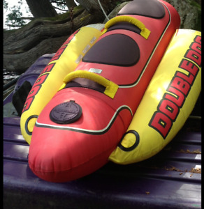 "2 person inflatable towable tube trip ""Double Dog"""