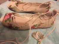 Floral tie up the leg ballet shoes