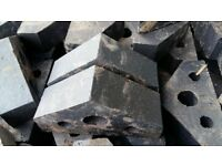 Reclaimed blue coping bricks tri angled shape