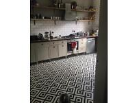 Mardi Gras sagres black and white Aztec vinyl floor. 5mx 4m