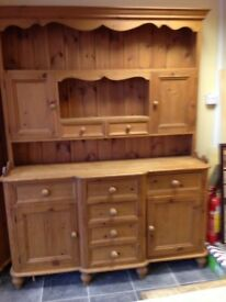 Gorgeous really old bespoke rustic pine dresser with 8 drawers and 4 doors every inch solid pine vgc