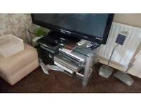 Clear Glass TV Stand 3 Shelf Toughened Glass