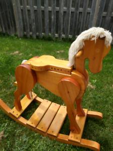 Solid hardwood handmade rocking horse